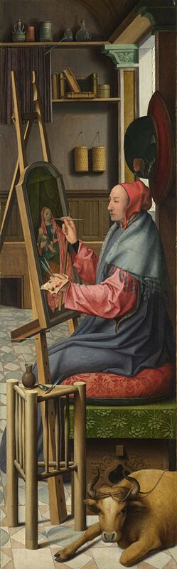 Workshop of Quentin Massys Saint Luke Painting the Virgin and Child 1520