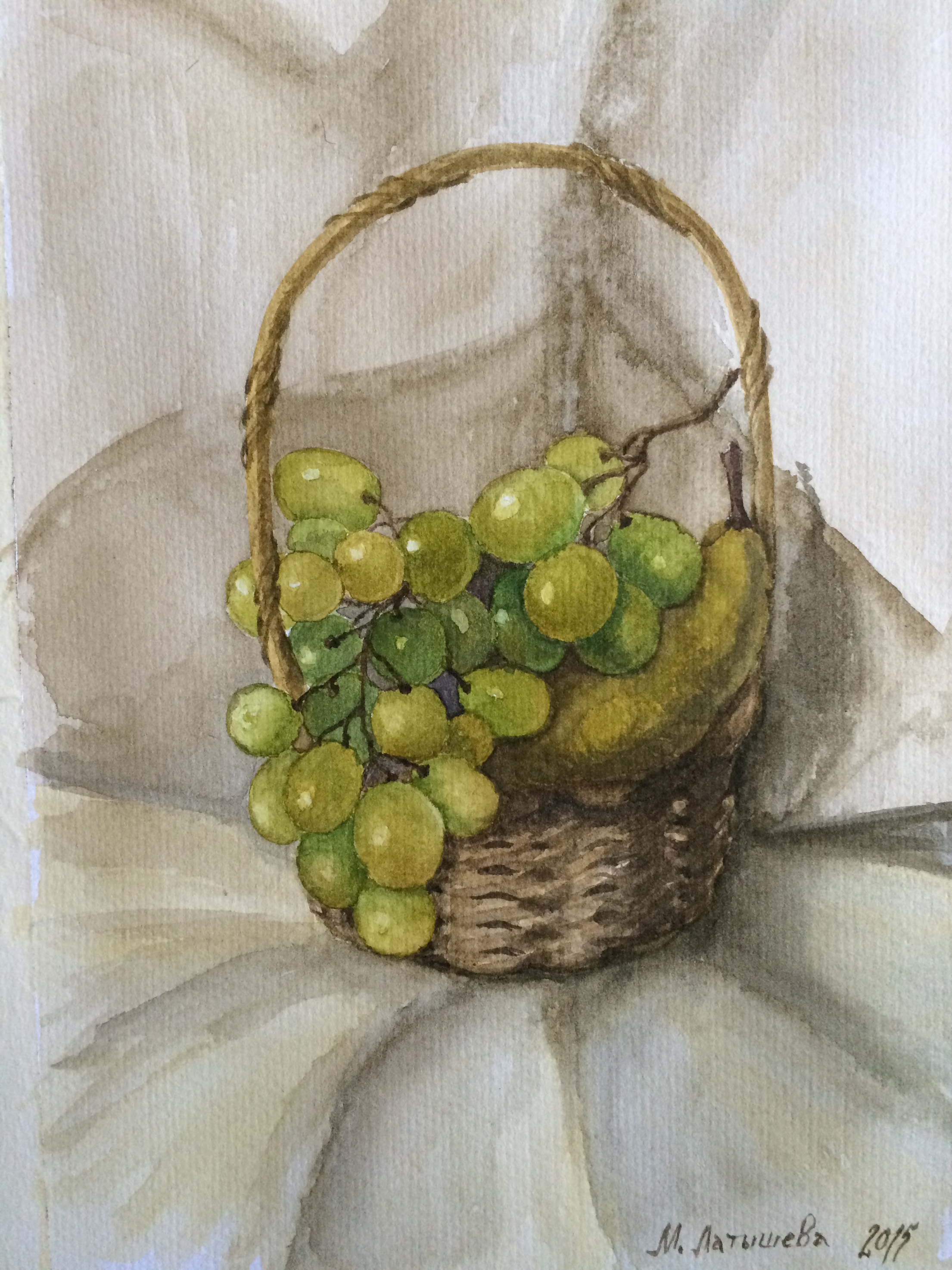 watercolor stillife with green grapes